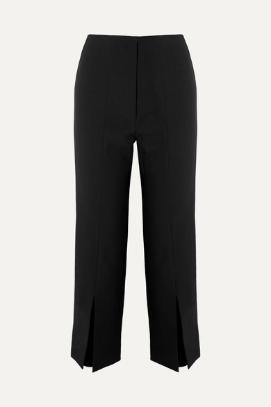 The Inez Cropped Crepe Tapered Pants, Black
