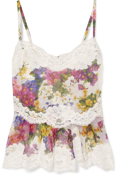 Lace Trimmed Floral Print Silk Blend Camisole by Dolce & Gabbana