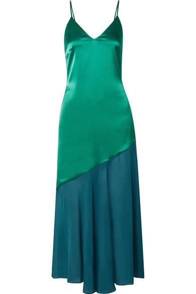 Racil - Zsa Zsa Two-tone Satin And Chiffon Midi Dress - Green