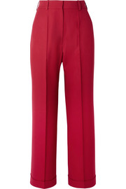 Charlie cropped wool-piqué wide-leg pants