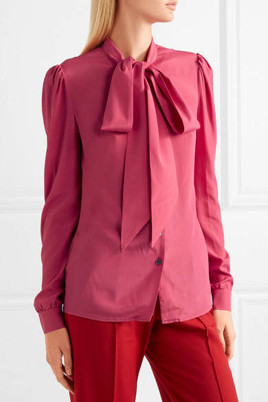 Doris Pussy Bow Crepe De Chine Blouse by Racil