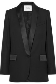 Paris satin-trimmed wool blazer