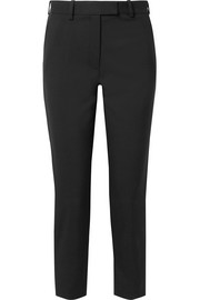 Aries cropped satin-trimmed wool-piqué tapered pants