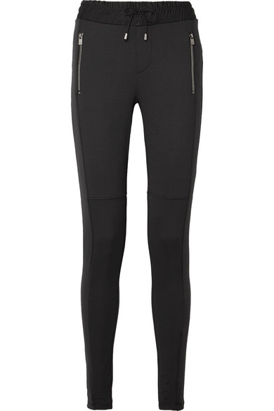 HEROINE SPORT Power Stretch-Jersey Track Pants in Black