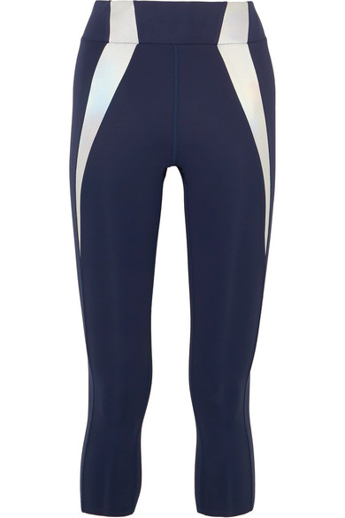 HEROINE SPORT Frame Reflective-Paneled Stretch Leggings in Navy