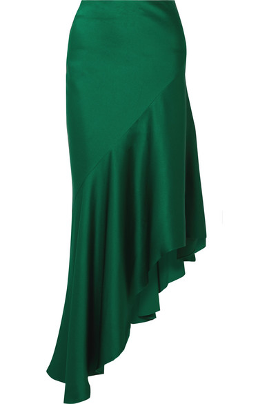 Haider Ackermann - Asymmetric Satin-crepe Midi Skirt - Emerald