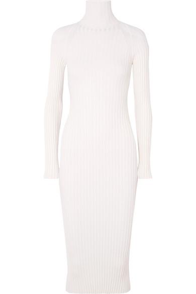 Haider Ackermann - Ribbed Wool And Silk-blend Turtleneck Midi Dress - White