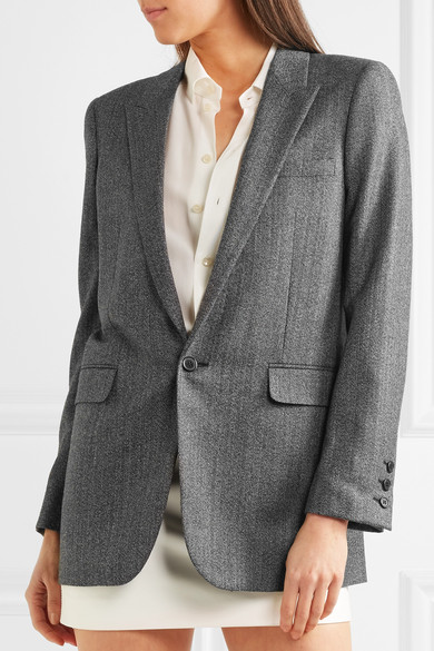 Saint Laurent Wool Blazer With Herringbone Pattern