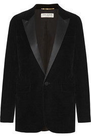 Saint Laurent Veste de smoking en velours à finitions en satin