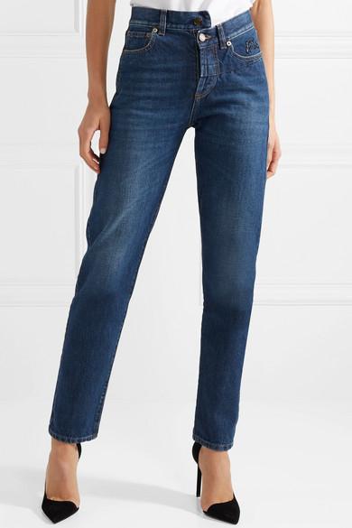 Saint Laurent Hoch sitzende Jeans mit schmalem Bein und Stickerei