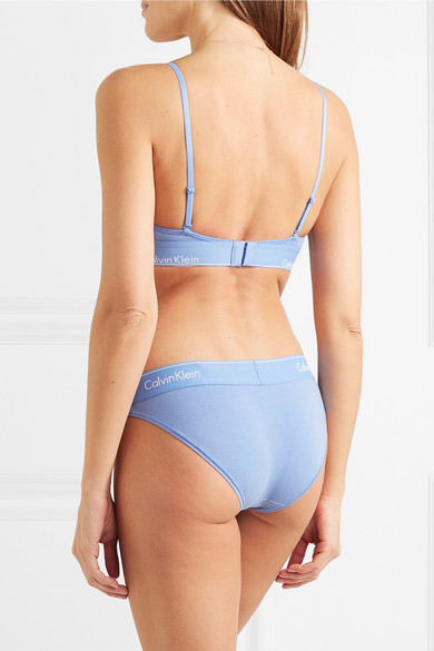 113fd0cbe3 Calvin Klein Underwear. Stretch cotton and modal-blend jersey soft-cup  triangle bra. £32. Zoom In