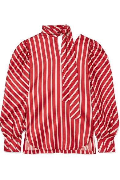 SILVIA TCHERASSI Juliette Striped Silk-Blend Satin Blouse in Red