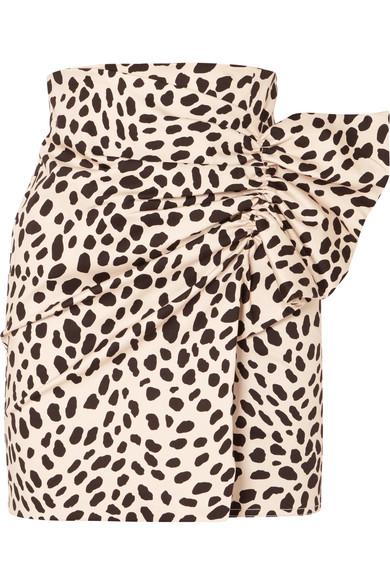 Willow Gathered Leopard-Print Stretch-Cotton Mini Skirt