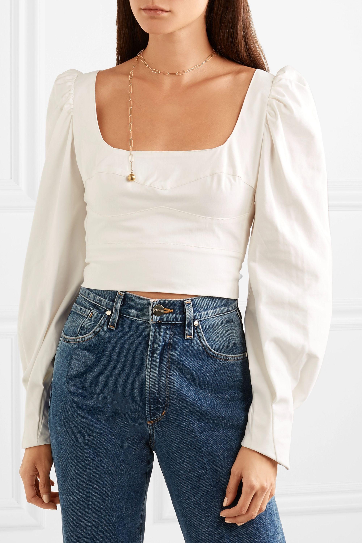 Silvia Tcherassi Victoria cropped cotton-blend top
