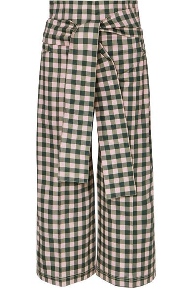 Salve Cropped Gingham Cotton-Blend Wide-Leg Pants, Green