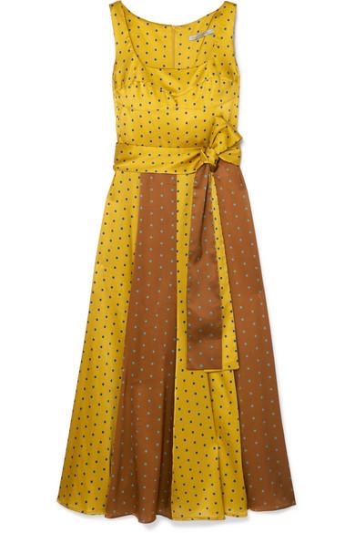 Nevaeh Polka-Dot Silk-Blend Satin Midi Dress