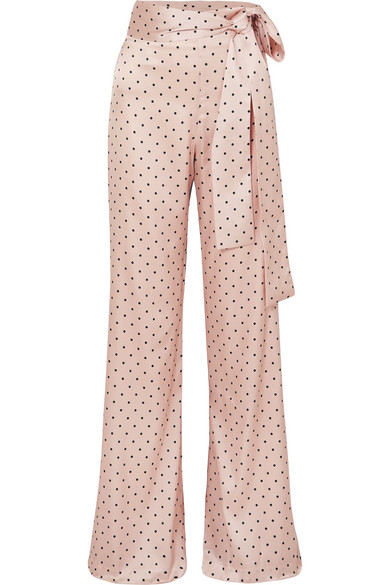 Giovanetti Polka-Dot Silk-Blend Satin Wide-Leg Pants