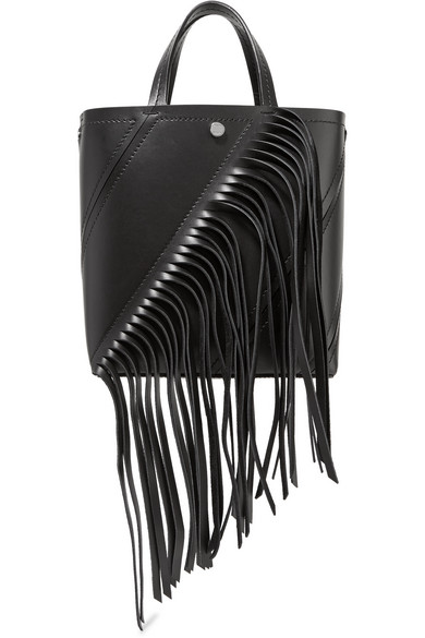 Hex Small Fringed Paneled Leather Tote in Black