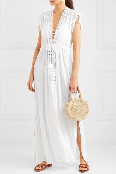 Elenora Crochet-trimmed Cotton Kaftan - White Melissa Odabash L3EL5Oxc
