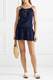 Chelsea crochet-trimmed embroidered cotton-voile mini dress