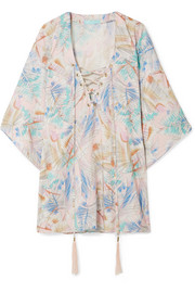 Cleo lace-up printed voile kaftan