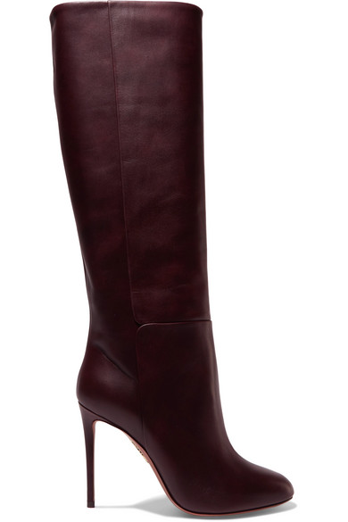 Brera 105 Leather Knee Boots in Burgundy