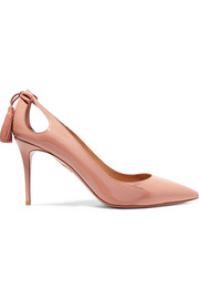 Forever Marilyn cutout tasseled patent-leather pumps