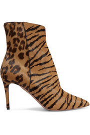 Aquazzura Alma animal-print pony hair ankle boots