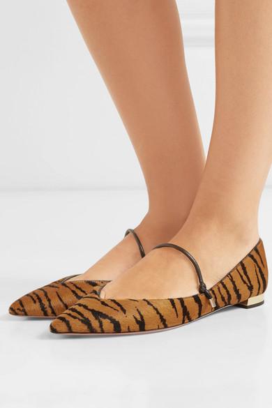 184d432040b1 Aquazzura | Tiger-print calf hair point-toe flats | NET-A-PORTER.COM