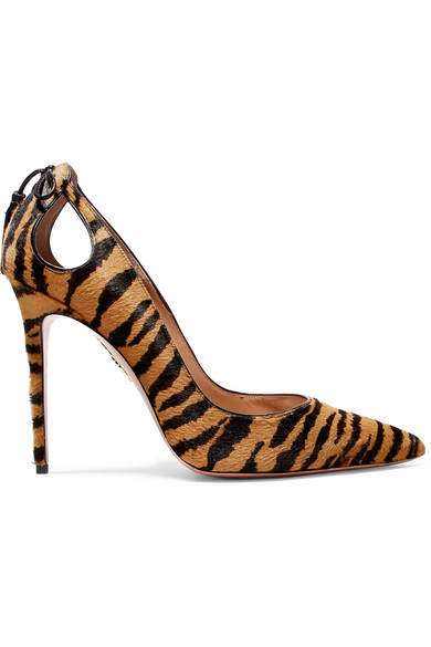 Aquazzura - Forever Marilyn Tasseled Tiger-print Calf Hair Pumps - Zebra print