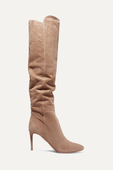 Aquazzura aus | Gainsbourg kniehohe Stiefel aus Aquazzura Veloursleder 3d13d6