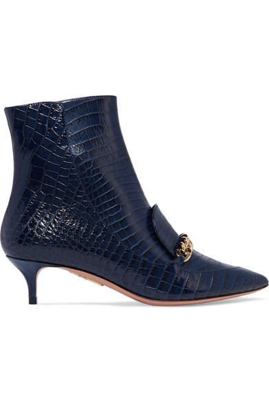 affa5da9a28 Editor chain-trimmed croc-effect leather ankle boots