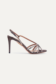 Aquazzura Paradis sequined lamé slingback sandals