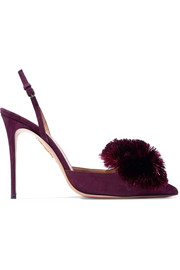 Aquazzura Powder Puff pompom-embellished suede slingback pumps