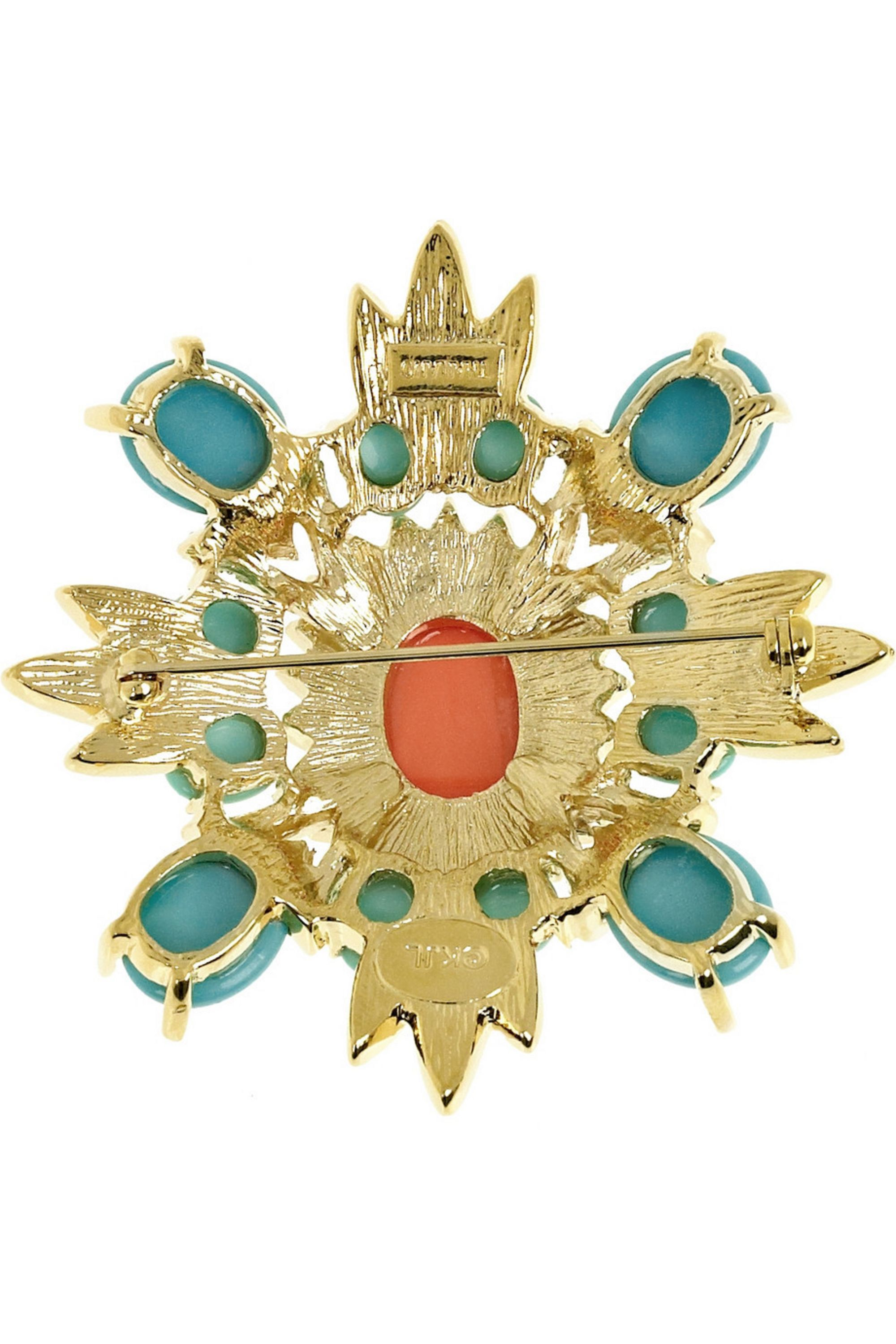 Kenneth Jay Lane 22-karat gold-plated Swarovski crystal brooch