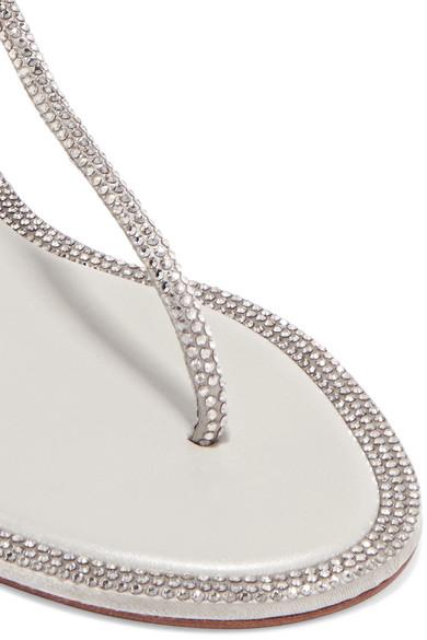 René Caovilla | Diana Kristallen Sandalen aus Metallic-Leder mit Kristallen Diana 3044ba
