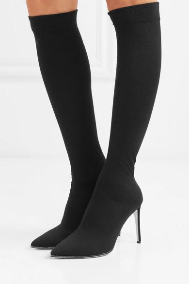 René Caovilla | Jersey Oberschenkelhohe Sock Boots aus Jersey | mit Kristallen dcced1
