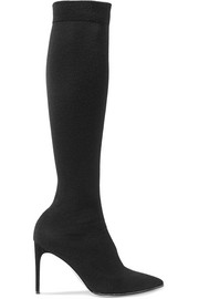 Crystal-embellished jersey over-the-knee sock boots