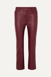 Daily cropped leather straight-leg pants