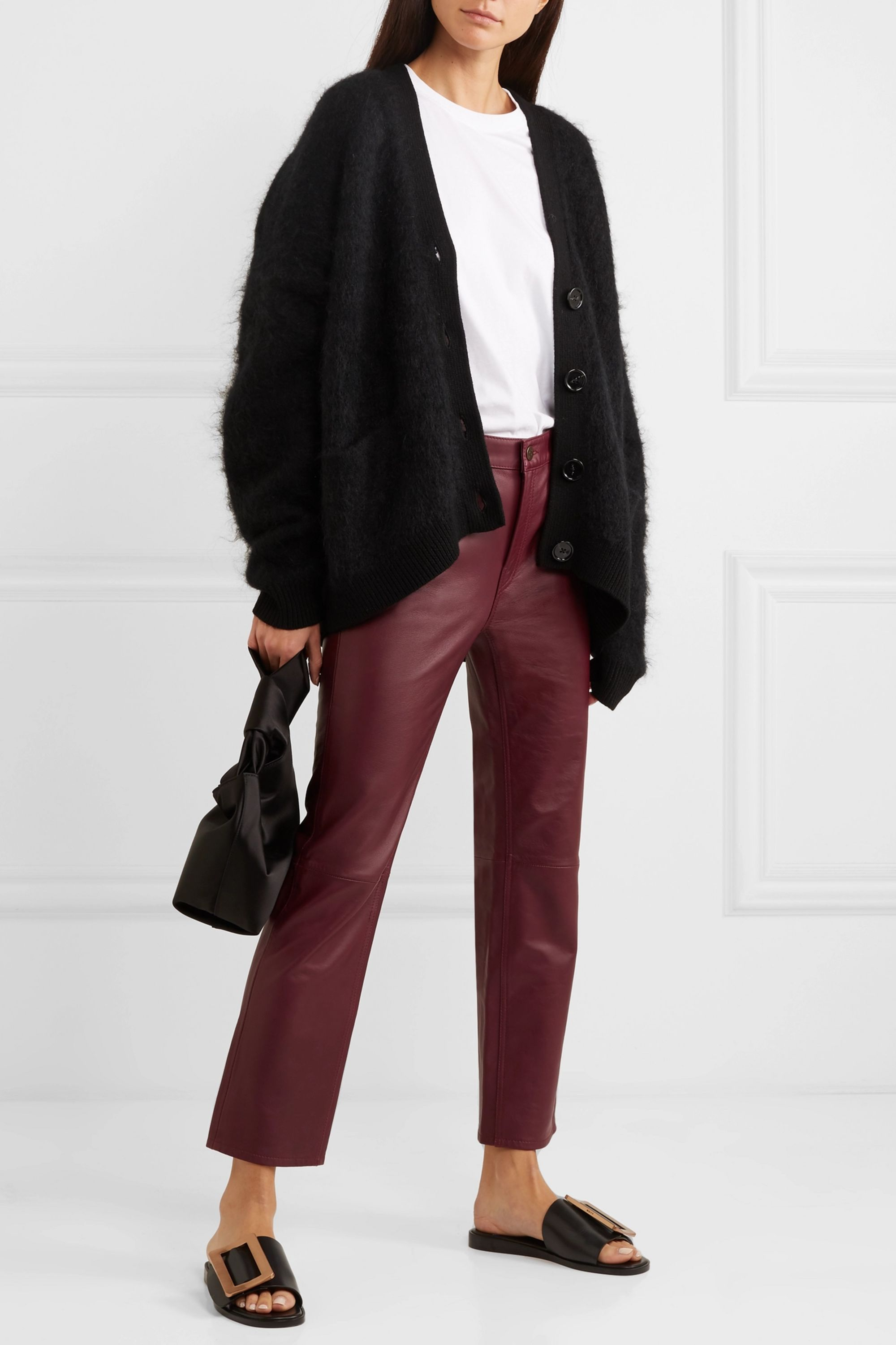 M.i.h Jeans Daily cropped leather straight-leg pants