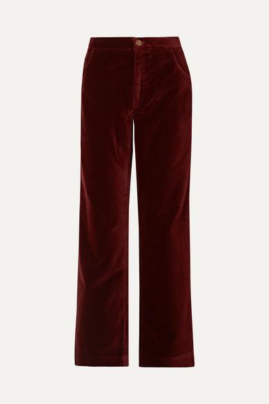 M.I.H JEANS Paradise High-Rise Wide-Leg Velvet Trousers in Burgundy