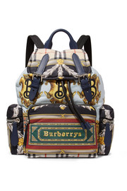 Printed shell and leather backpack
