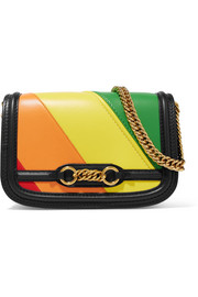 Striped leather shoulder bag