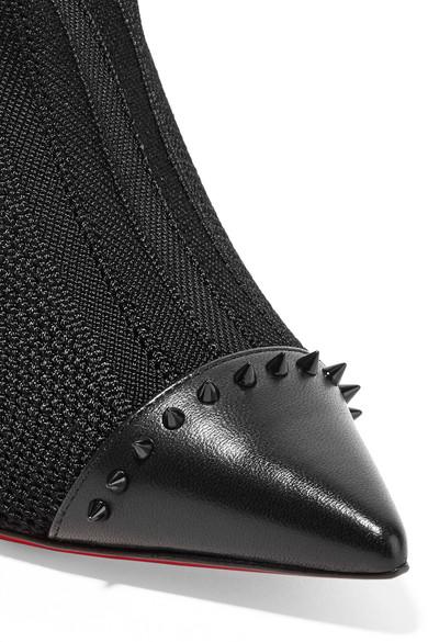 faf87e1e1bc Christian Louboutin | Dovi Dova 100 studded leather-trimmed stretch ...