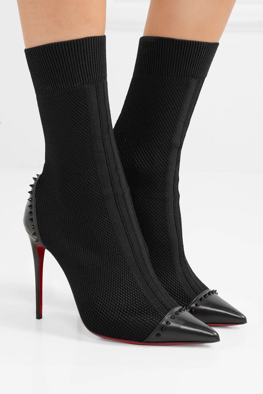 Christian Louboutin Dovi Dova 100 studded leather-trimmed stretch-knit sock boots