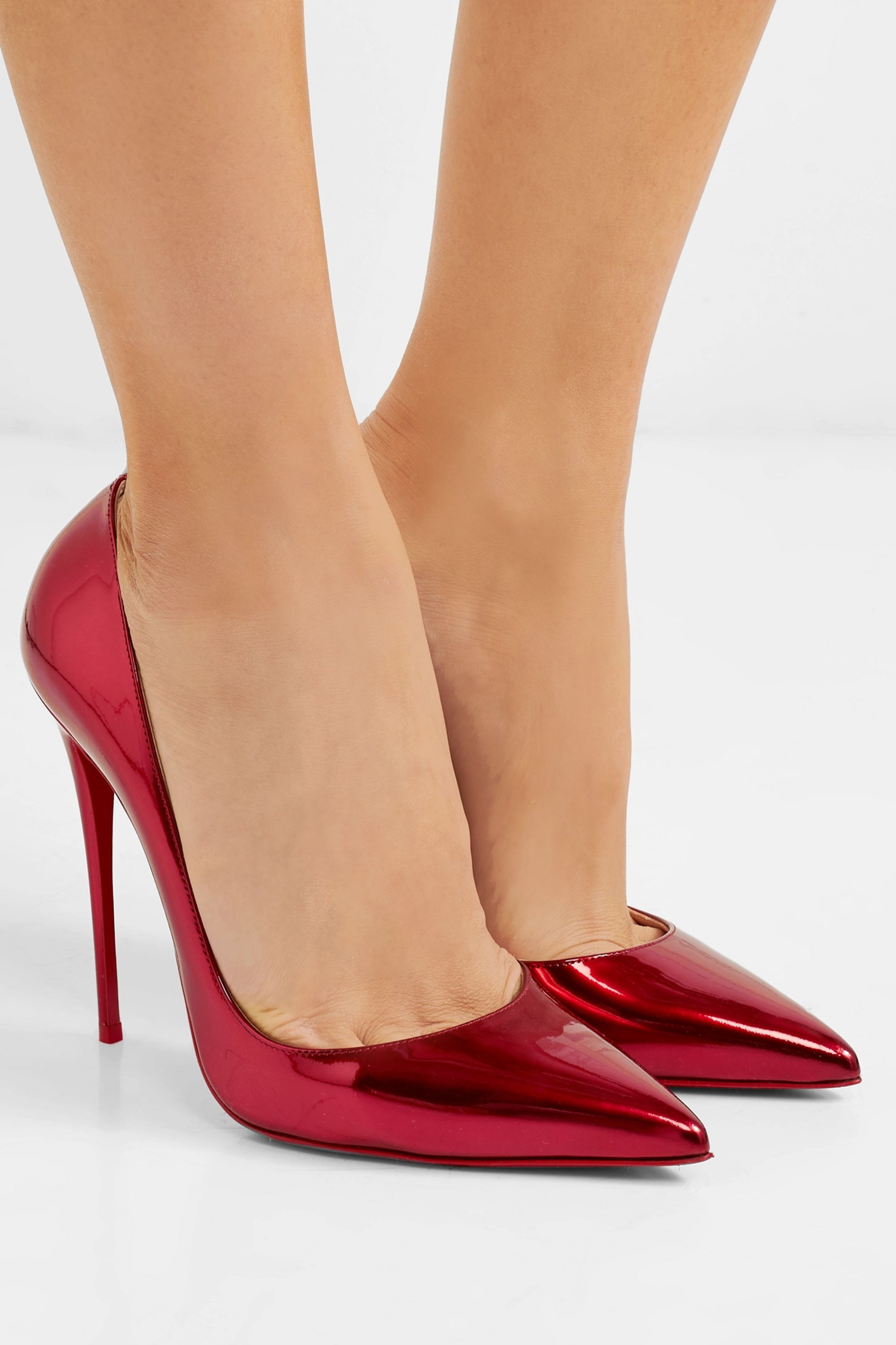 Red So Kate 120 metallic patent-leather
