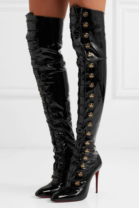 Black Frenchissima Alta 100 patent-leather over-the-knee boots | Christian Louboutin jMuptT