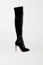 Frenchissima Alta 100 patent-leather over-the-knee boots