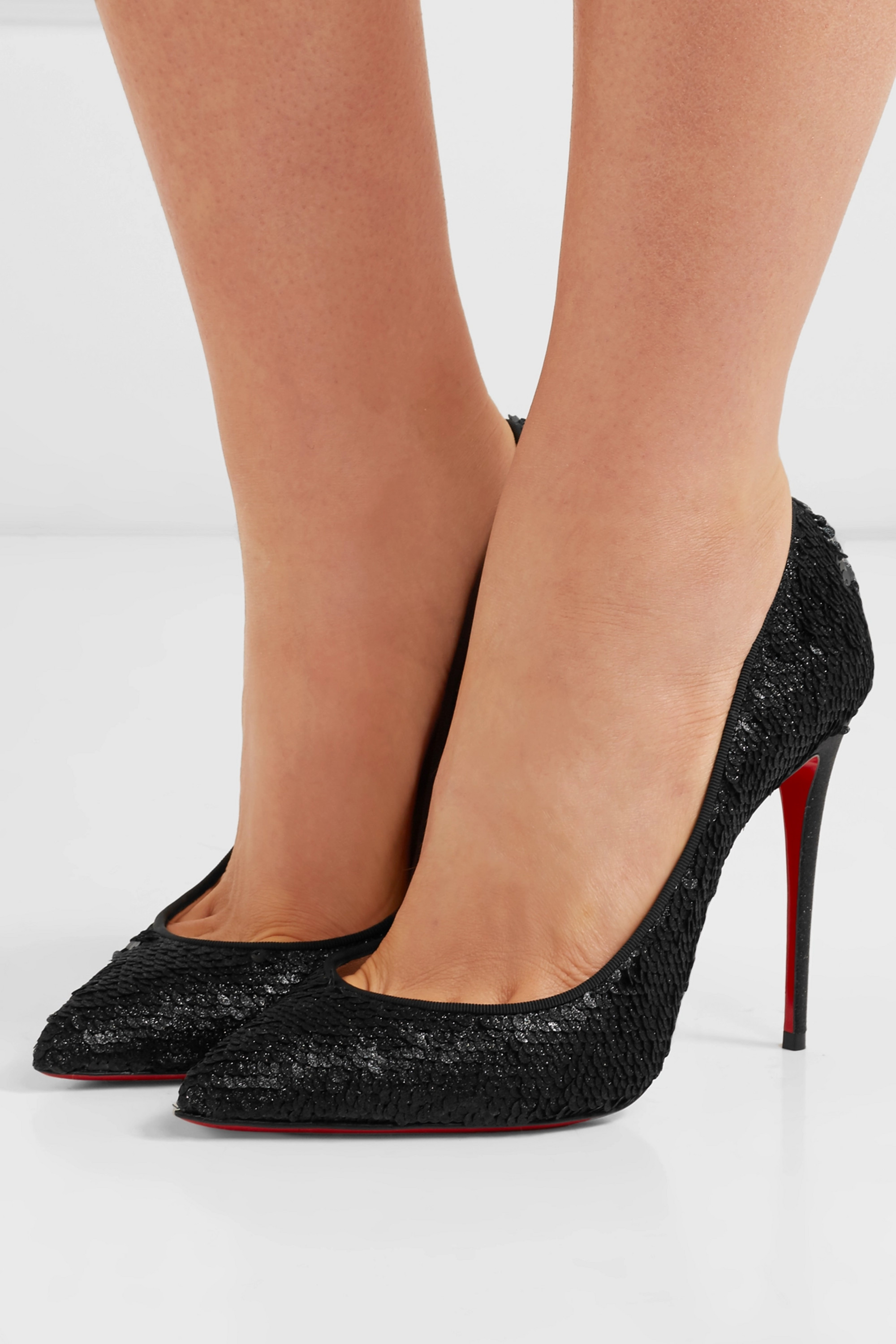 Christian Louboutin Pigalle Follies 100 sequined leather pumps