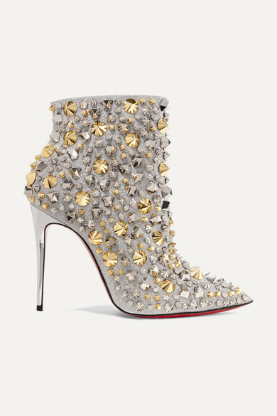 Christian Louboutin - So Full Kate 100 embellished glittered leather ankle boots